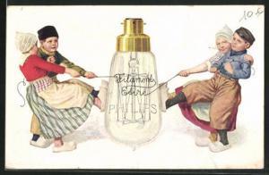 AK Reklame für Glühlampen von Philips