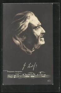 AK Antlitz des Komponisten Franz Liszt aus nackten Frauenkörpern zusammengesetzt