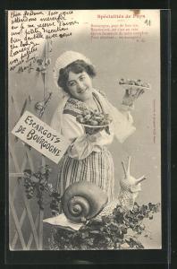 AK Spécialités de Pays, junge Dame mit Escargots de Bourgogne