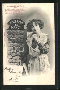 AK Spécialités de Pays, junge Dame mit Macarons de Nancy