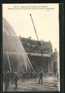 AK Paris, Manoeuvre de la nouvelle grande échelle électrique, Feuerwehr bei einer Übung