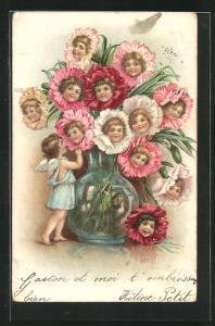 AK Blumen mit Kinderköpfen in einer Vase und ein Engel