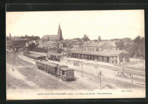 AK Saint-Just-En-Chaussée, La Gare, les Qunis, Bahnhof
