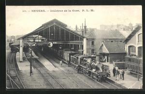 AK Nevers, Interieur de la Gare, Bahnhof