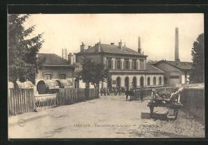 AK Frouard, Vue extérieure de la Gare, Bahnhof
