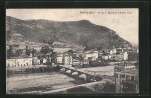AK Ventimiglia, Borgo S. Agostino e fiume Roia, Brücke über Fluss