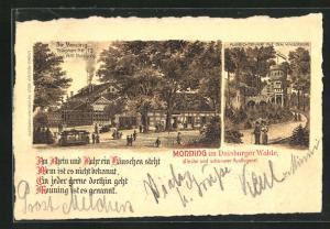Lithographie Duisburg, Gasthaus Monning, Aussichtsturm auf dem Kaiserberg
