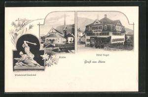 AK Stans, Hotel Engel, Kirche, Winkelried-Denkmal