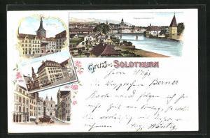 Lithographie Solothurn, Hotel de la Couronne, Zeitglockenturm, Hauptstrasse