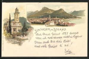 Lithographie Lugano, Gesamtansicht des Ortes und Kirche in Totalansicht