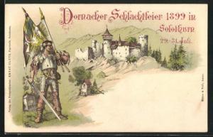 Lithographie Solothurn, Dornacher Schlachtfeier 1899, Krieger vor einer Burg