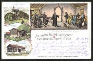Lithographie Stans, Niklaus v. d. Flühe auf der Tagsatzung, Geburts- und Wohnhaus, Kapelle Flühli-Ranft