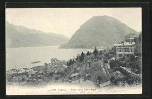 AK Lugano, Vista della Cathedrale, Pension Berna, Berge und Wasser