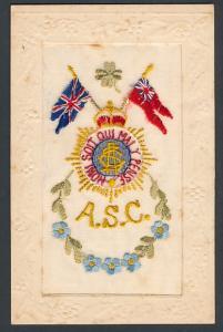 Seidenstick-AK A.S.C. Wappen und Union Jack