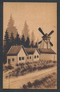 Holz-AK Häuser und Windmühle am Waldrand
