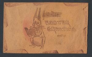 Leder-AK Easter Greeting, Lesender Osterhase