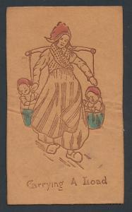 Leder-AK Carrying a Load, Holländerin trägt ihre Kinder in Eimern