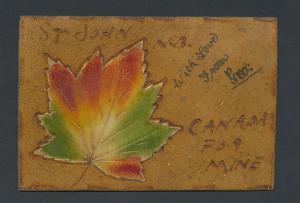 Leder-AK Herbstliches Ahornblatt aus Samtstoff