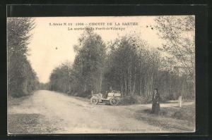 AK Vibraye, Circuit de la Sarthe 1906, La sortie de la Foret, Autorennen