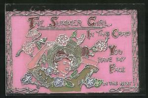 Filz-AK The Summer Girl, Mädchen mit Strohhut