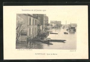 AK Alfortville, Inondations 1910, Quai de Marne, Hochwasser