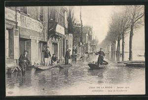 AK Asnieres, Crue de la Seine 1910, Quai de Coubevoie, Hochwasser