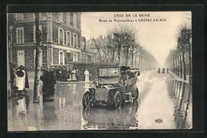 AK Choisy-le-Roi, Crue de la Seine, Route de Fontainebleau, Hochwasser