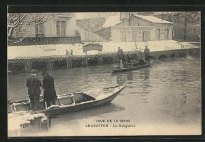 AK Charenton, Crue de la Seine, Les Guinguettes, Hochwasser