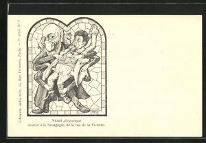 AK Vitrail allegorique destine a la Synagogue de la rue de la Victoire, Synagoge