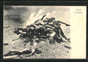 AK Indien, Hindu Cremation, Feuerbestattung der Hindus