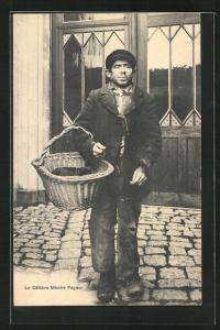 AK Mann in ärmlicher Kleidung mit Korb, Le Celebre Mimire Paynor, Exzentriker
