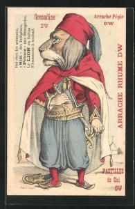 AK Tiger in orientalischer Kleidung mit Krummsäbel, Pastilles du Ciel DW, vermenschlichte Tiere