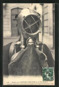 AK Paris, Sapeurs-Pompiers, Appareil respiratoire automatique, Feuerwehr, Taucheranzug