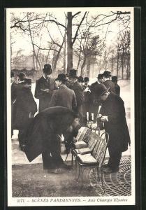 AK Paris, Scenes Parisiennes, Aux Champs Elysees, Ansichtskartengeschichte