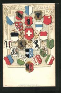 Präge-AK Schweiz, Wappen verschiedener Städte und Kantone, Luzern, Bern, Valais