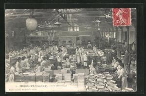 AK Fabrikarbeiter in der Keksfabrik Biscuits Olibet