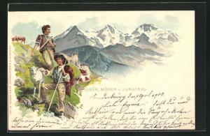 Lithographie Schweiz, Ziegen- und Kuhirten auf der Alm mit Blick zu Eiger, Mönch u. Jungfrau