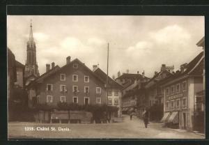 AK Chatel St. Denis, Ortspartie mit Geschäften und Gebäudeansicht