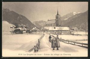 AK Charmey, La Gruyere en hiver, Entree du village