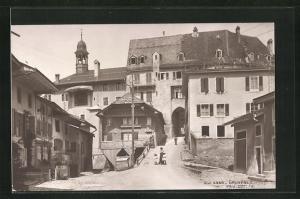 AK Gruyeres, Wohnhäuser an der Kirche