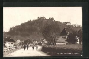 AK Gruyeres, La village et vu d`Epagny