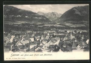 AK Sarnen, Ortsansicht mit Blick nach Flühli und Melchtal