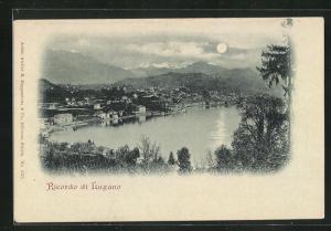 Mondschein-AK Lugano, Panoramablick auf Stadt und Berge