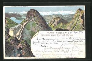 Lithographie Pilatus-Kulm, Panorama gegen Süd und Südwest