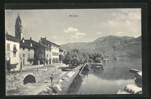 AK Ascona, Ortspartie mit Seeufer und Alpenkette