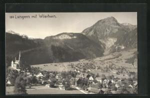 Foto-AK Lungern, Totalansicht mit Blick zum Wilerhorn