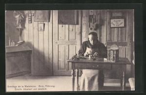 AK Düdingen, Ermitage de la Madeleine, Ermite réparant une pendule