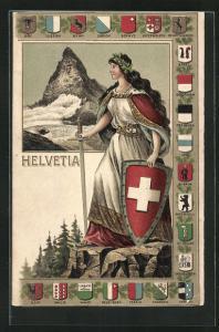 Lithographie Schweiz, Helvetia mit Wappenschild und Schwert