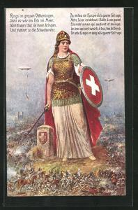 Künstler-AK Schweiz, Helvetia auf dem Schlachtfeld, Zeppelin