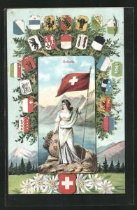 Künstler-AK Schweiz, Helvetia mit Fahne und Wappen